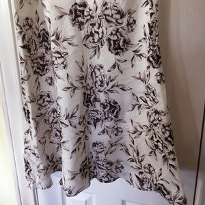 White Skirt with Brown Flowers - Retro - Classic